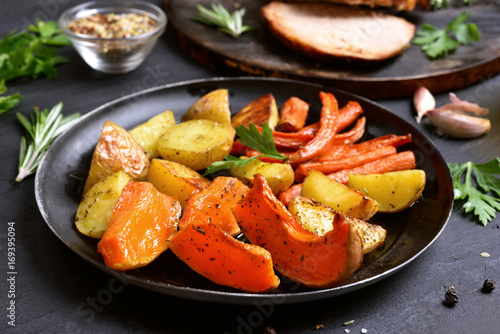 Cooked vegetables in frying pan - 169395094