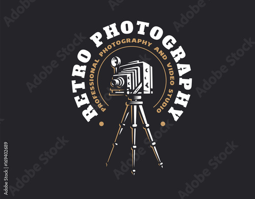 Retro Photo Camera Logo Vector Illustration Vintage Emblem Design
