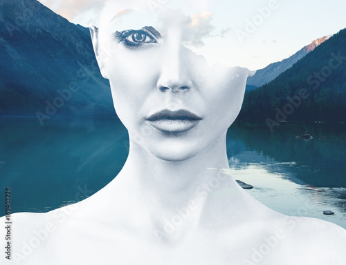 Young woman and nature landscape - 169403226