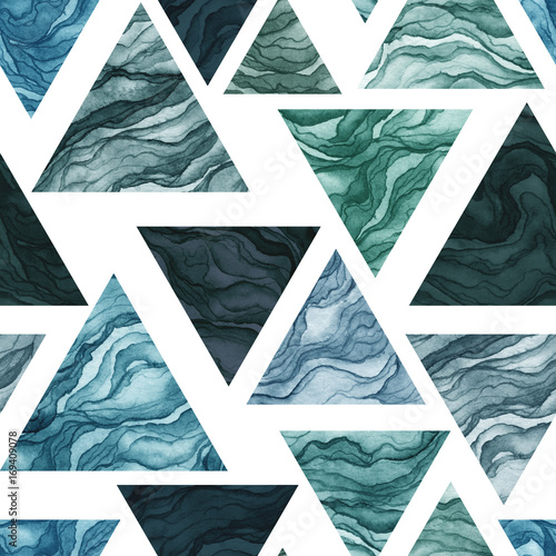 Seamless Pattern of Watercolor Green and Blue Triangles - 169409078