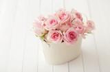 pink rose flowers in a vase