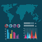 world map infographic information report network vector illustration