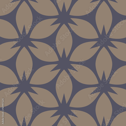 abstract floral pattern. Beige and dark blue vector background. Geometric leaf ornament. Graphic modern pattern. graphic clean design for fabric, event, wallpaper etc. pattern is on swatches panel. - 169417225