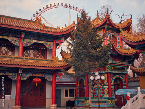 Plakat beautiful Buddhist temple with a tree in the middle