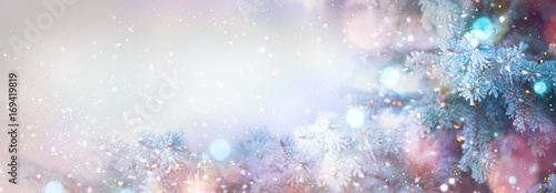 Winter tree holiday snow background. Beautiful Christmas border art design