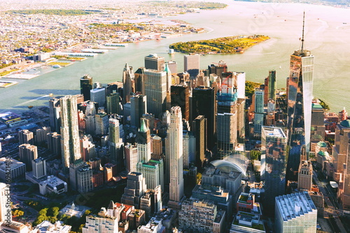Aerial view of lower Manhattan New York City Poster
