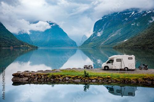 Staande foto Scandinavië Family vacation travel, holiday trip in motorhome