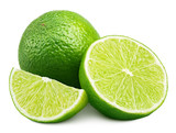 Citrus lime fruit with slice and half isolated on white background. Lime citrus fruit with clipping path