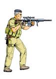 soldier with a sniper rifle,illustration,art,design,logo,color - 169423886