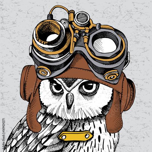 Owl portrait in a Steampunk helmet. Vector illustration.