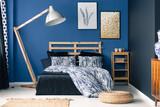 Indigo tones in classy bedroom - 169424601