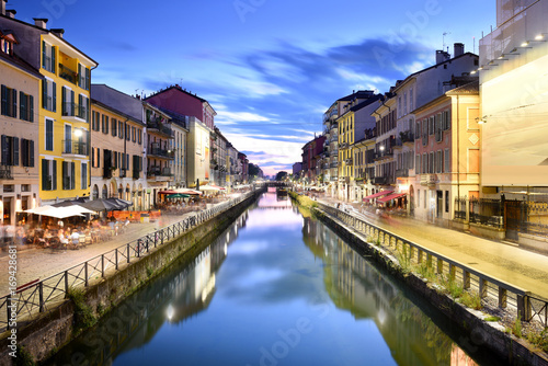 Naviglio Grande Canal at the Blue Hour, Milan, Italy Poster