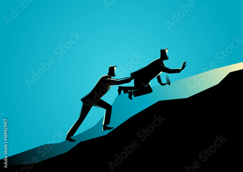 Man pushing his exhausted friend uphill