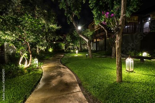 abstract walkway in the garden in night