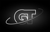 GT G T letter alphabet logo black white icon design
