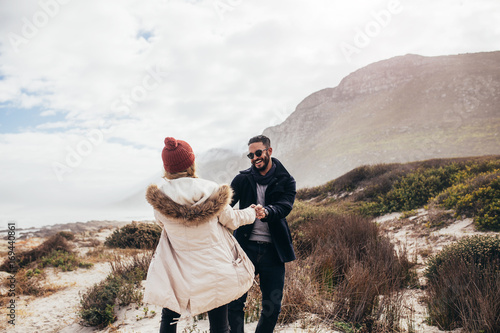Romantic couple dancing on the beach