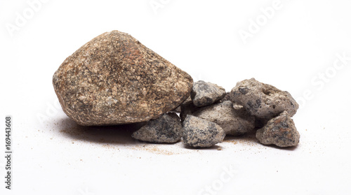 Foto op Aluminium Stenen in het Zand stones with sand on a white background\stones with sand\nature,material,isolated objects