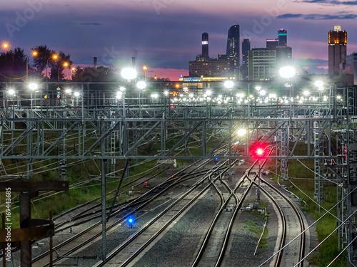 Fotobehang Nacht snelweg city