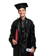 Happy graduated student isolated on white