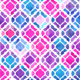 Watercolor abstract geometric pattern. Arab tiles. Kaleidoscope effect. Watercolor mosaic. - 169449074