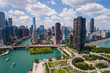 Aerial Chicago Navy Pier and Lake Shore Drive