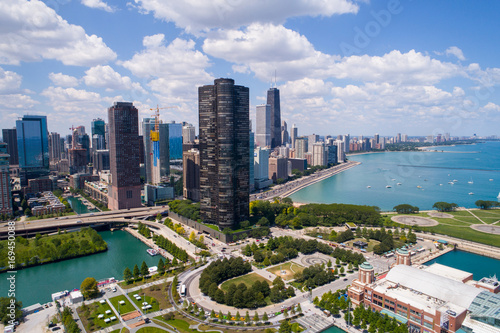 Fotobehang Chicago Drone image of Downtown Chicago IL