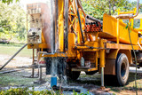 Ground water hole drilling machine installed on the old truck in Thailand. Ground water well drilling. - 169450288