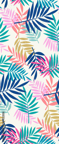 Seamless palm leaves pattern. - 169452806