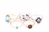 Women's rings with enamel and precious stones