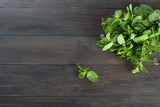 Organic fresh sprigs of mint on the wooden table - 169469647