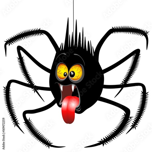 Poster Draw Spider Horrified Fun Cartoon Character