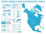 North America Map - Info Graphic Vector Illustration
