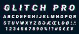 Glitch distorted font letter set with broken pixel effect - 169476698