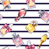 Seamless perfume pattern. Fashion stripe background - 169479686