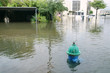 Watered streets of Houston. Fire hydrant under water. Hurricane Harvey