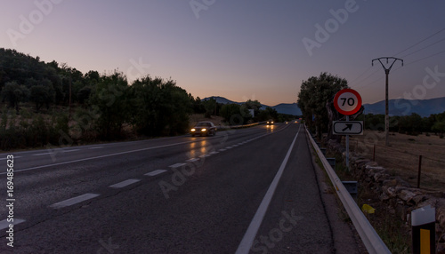 Poster Nacht snelweg Carretera rural en Madrid