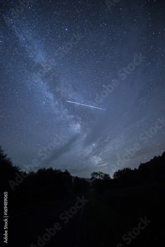 Night sky with failing stars