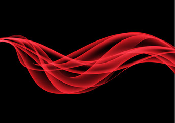 Abstract red wave on black design modern background vector illustration.