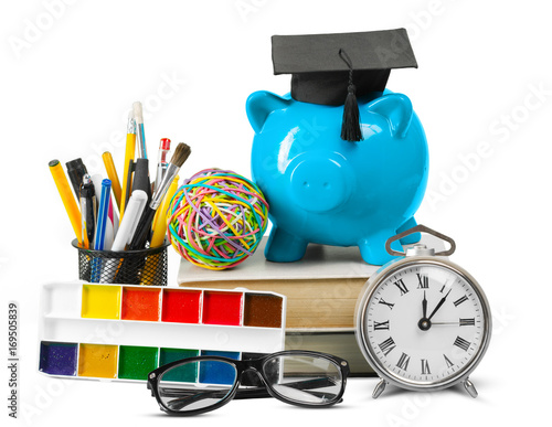 Poster School supplies isolated on white