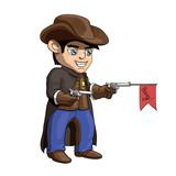 American Cowboy Sheriff Cartoon Illustration Wall Sticker