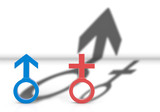 3d illustration. Male and female Gender sign with Male shadow is higher than female. Gender pay gap concept. - 169509808