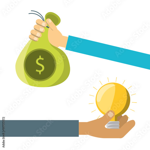 hands with business project to company finance vector illustration