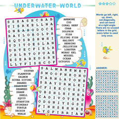 Underwater world word search puzzle, answer included