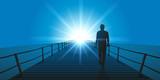 homme - marchant - seul - ponton - méditation - objectif - horizon - 169519494