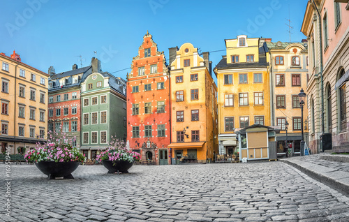 Plexiglas Stockholm Old colorful houses on Stortorget square in Stockholm, Sweden