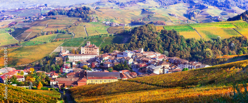Fotobehang Freesurf Autumn landscape - famous wine region in Piedmont. Barolo castle and village. North of Italy