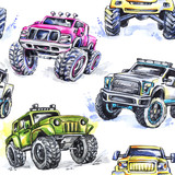 Watercolor seamless pattern Cartoon Monster Trucks. Colorful Extreme Sports background. 4x4. Vehicle SUV Off Road. Lifestyle. Man's hobby. Transport. - 169533229
