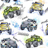 Watercolor seamless pattern Cartoon Monster Trucks. Colorful Extreme Sports background. 4x4. Vehicle SUV Off Road. Lifestyle. Man's hobby. Transport. - 169533254