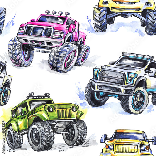 akwarela-bez-szwu-cartoon-monster-trucks-kolorowe-sporty-ekstremalne-tlo-4x4-pojazd-suv-off-road-styl-zycia-man-39-s-hobby-transport