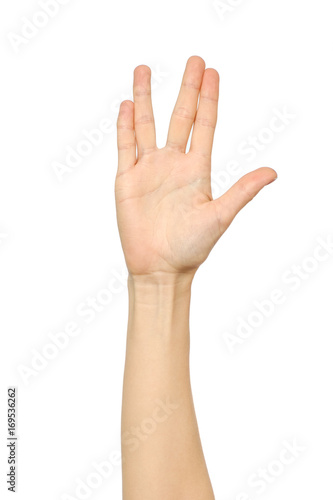 Female hand showing Vulcan Salute Poster